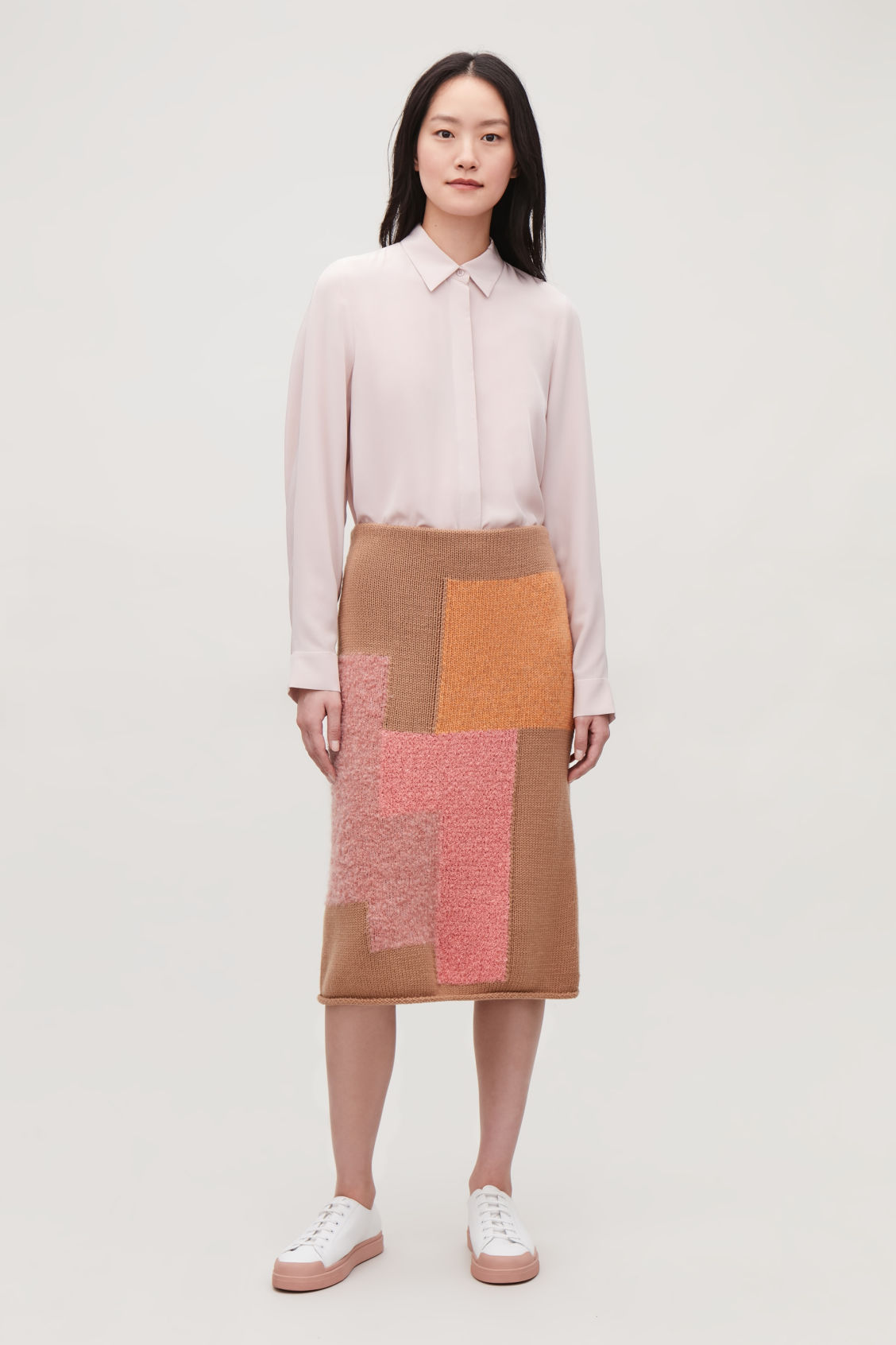 Model side image of Cos long cocoon silk shirt in pink
