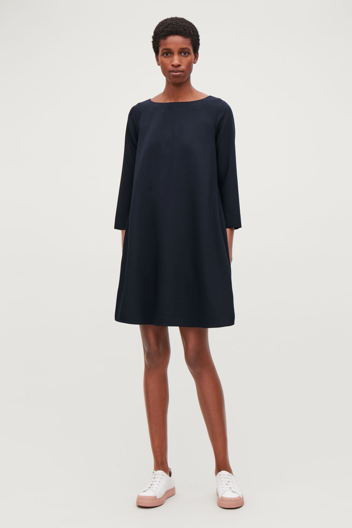 Model front image of Cos wide-neck a-line wool dress in blue
