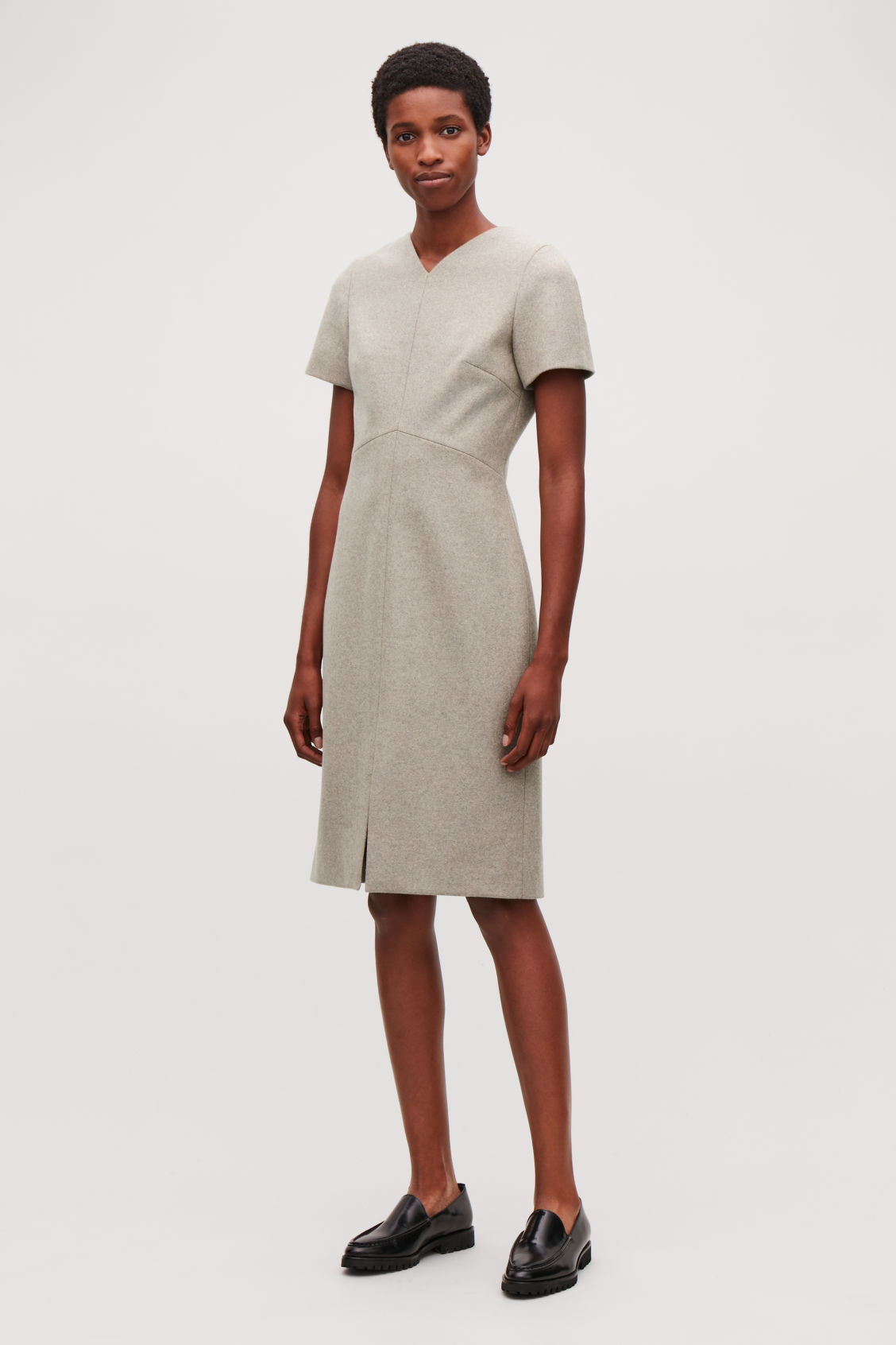 Model front image of Cos wool-cashmere tailored dress in brown