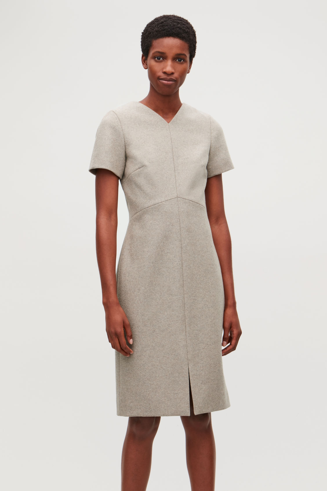 Model side image of Cos wool-cashmere tailored dress in brown