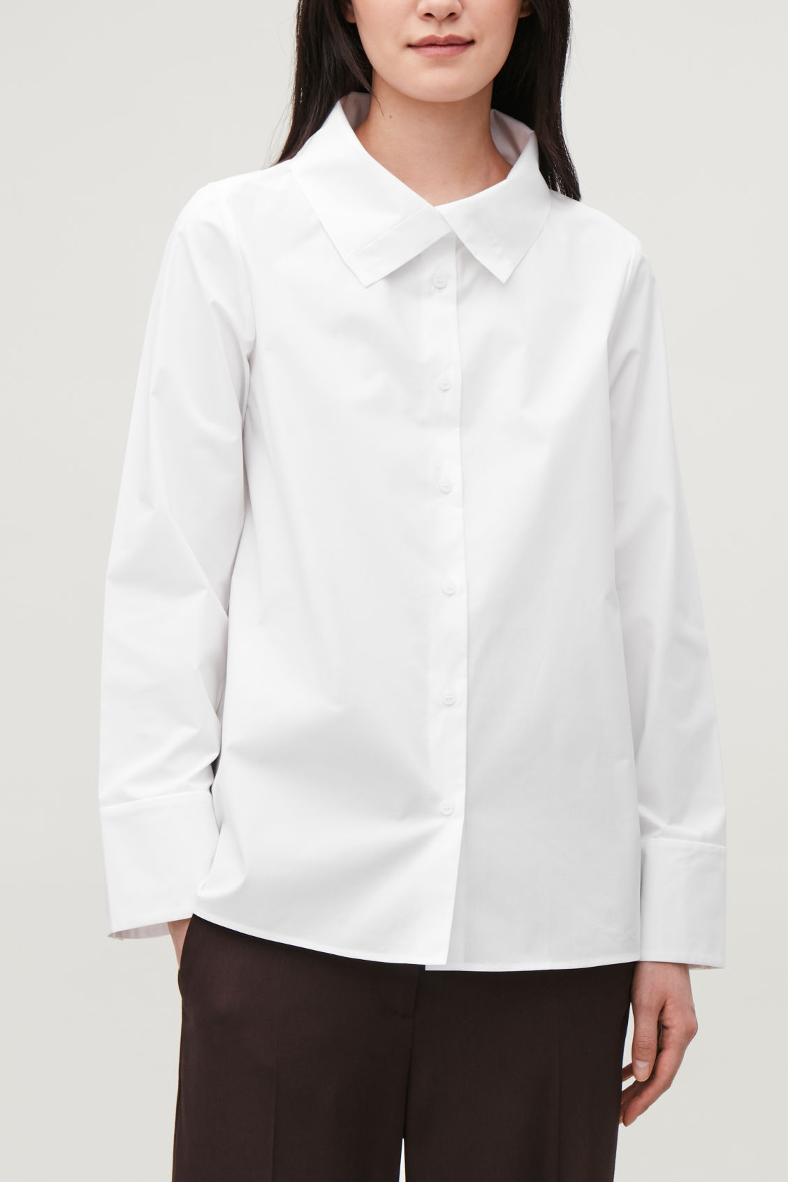 Model side image of Cos open-collar poplin shirt in white
