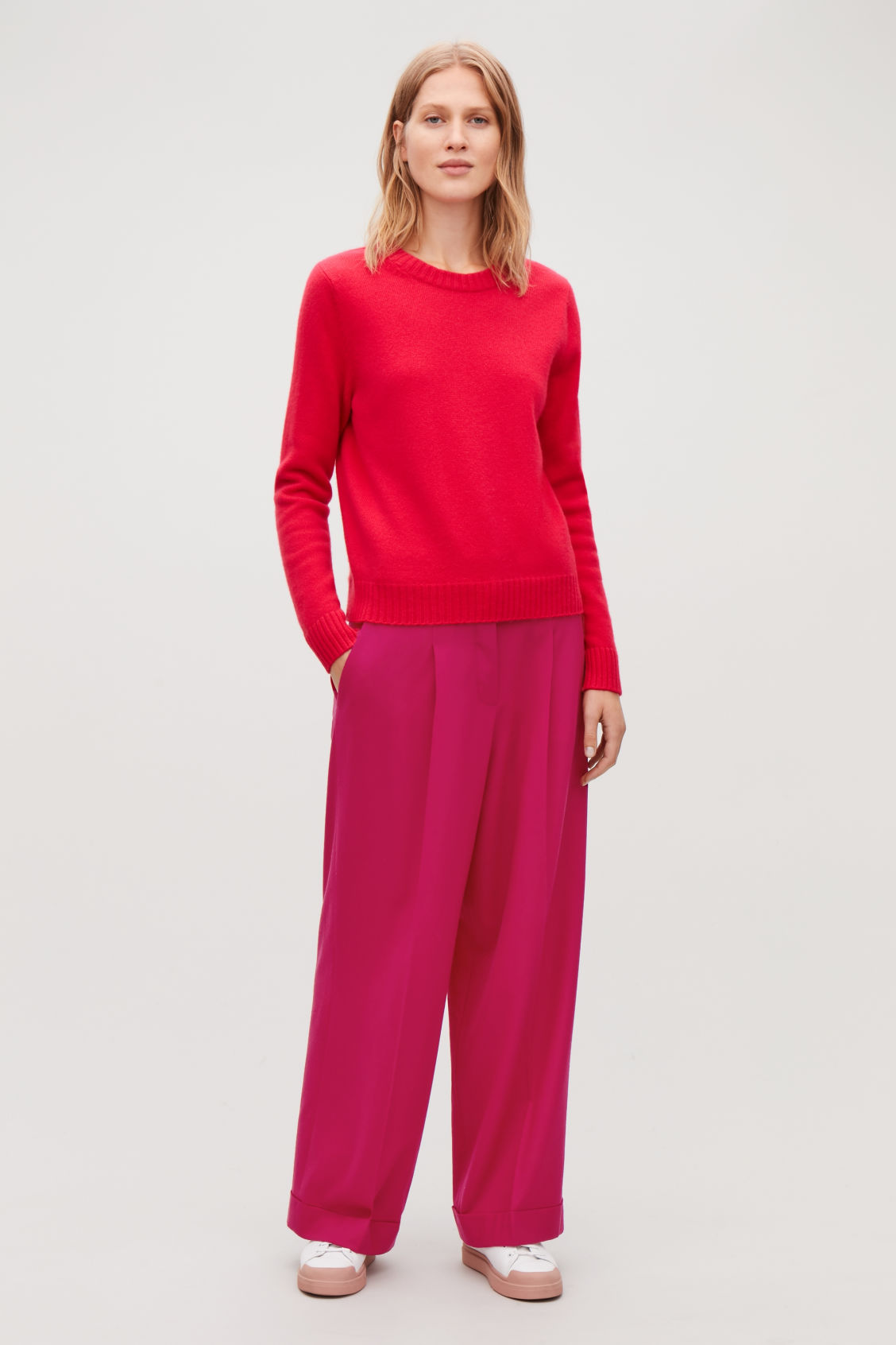 Model front image of Cos turn-up wool trousers in pink