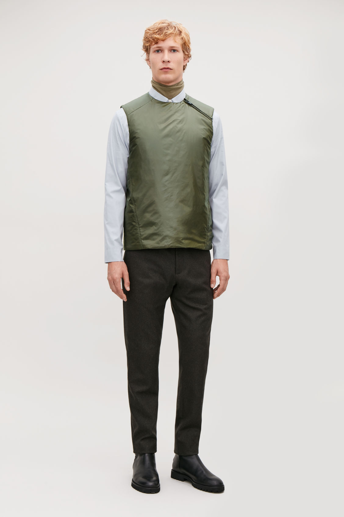 Model front image of Cos padded sleeveless vest in green