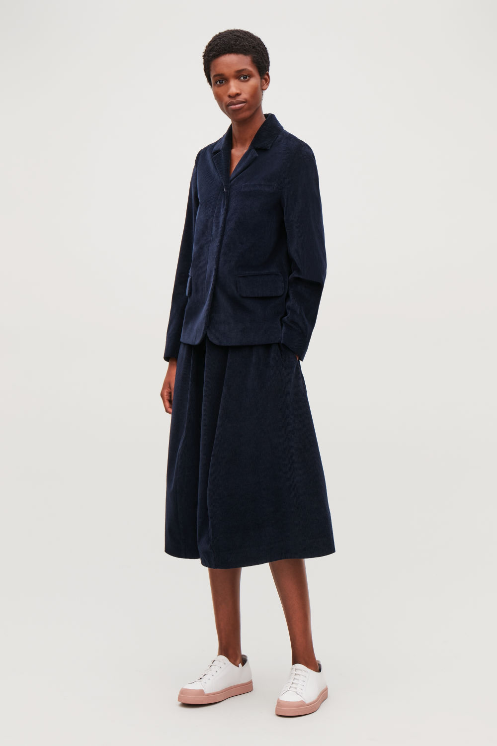 PANELLED A-LINE CORDUROY SKIRT