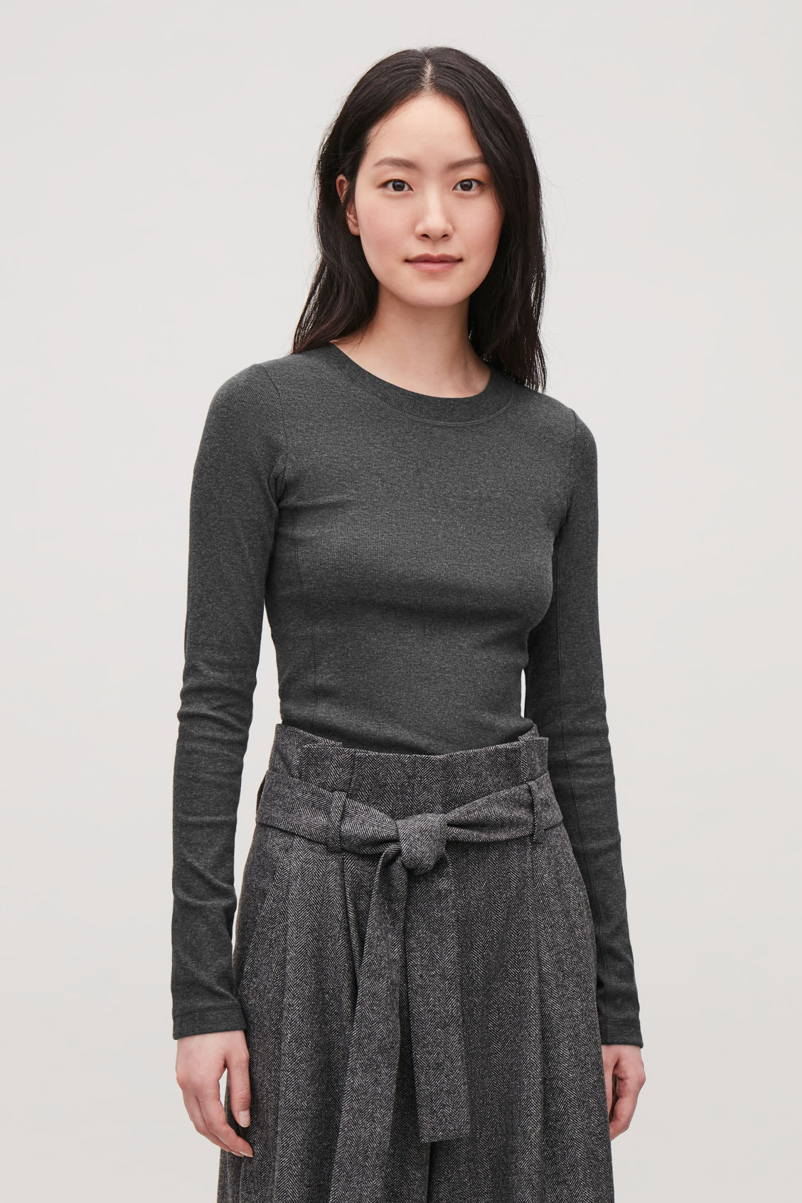 Model side image of Cos slim ribbed-jersey top in grey