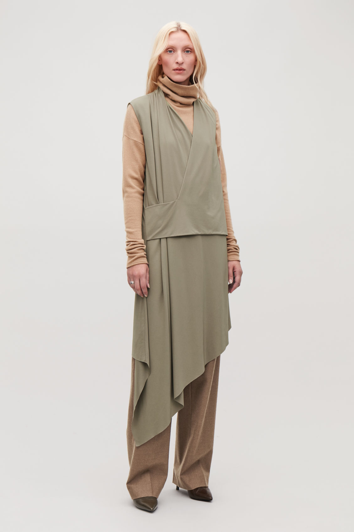 Model front image of Cos draped wrap jersey dress in beige