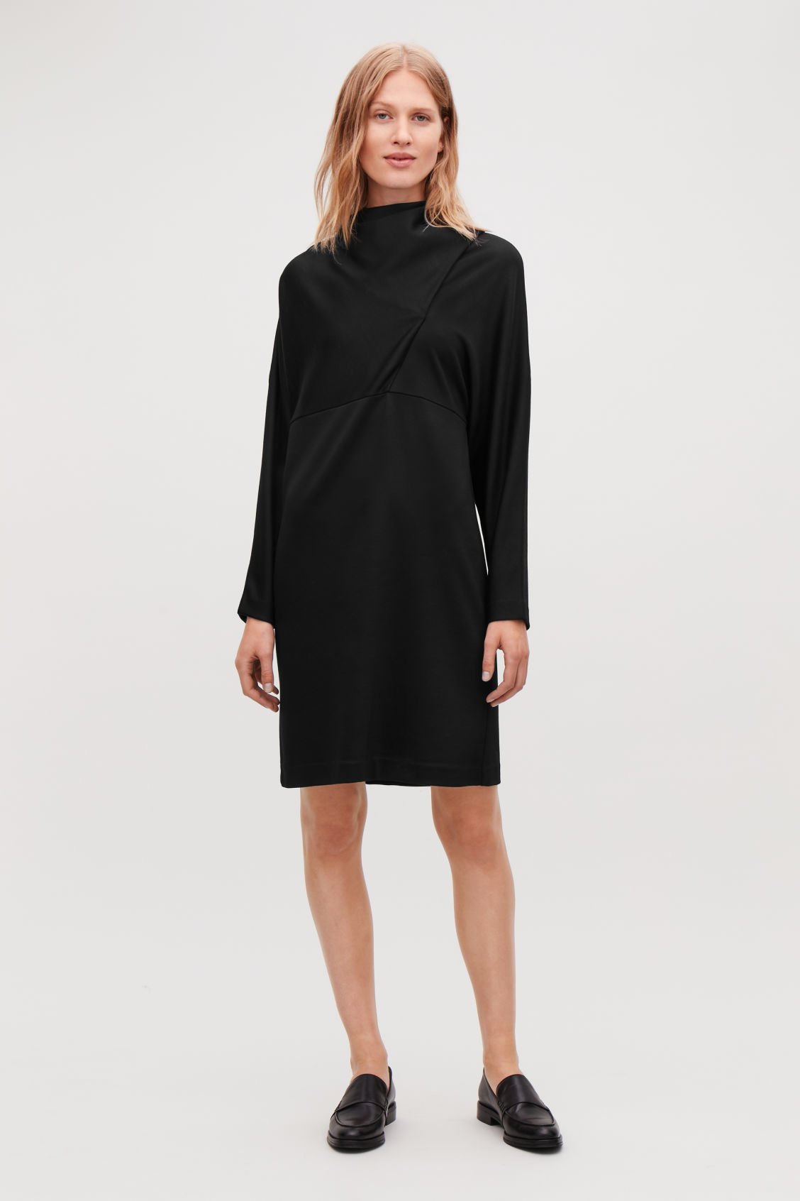 Model front image of Cos jersey dress with draped ties in black