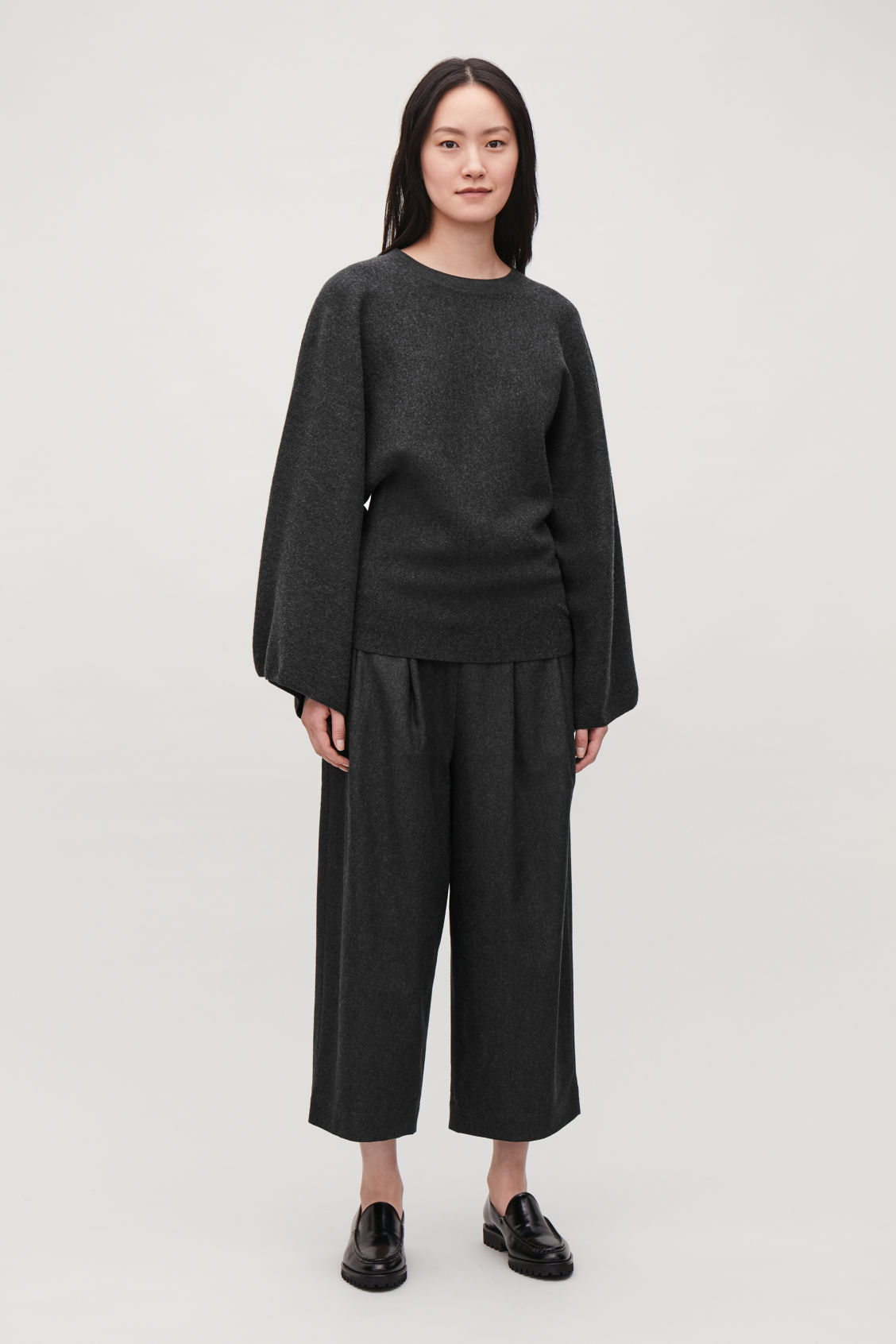 Model front image of Cos kimono wool jumper in grey