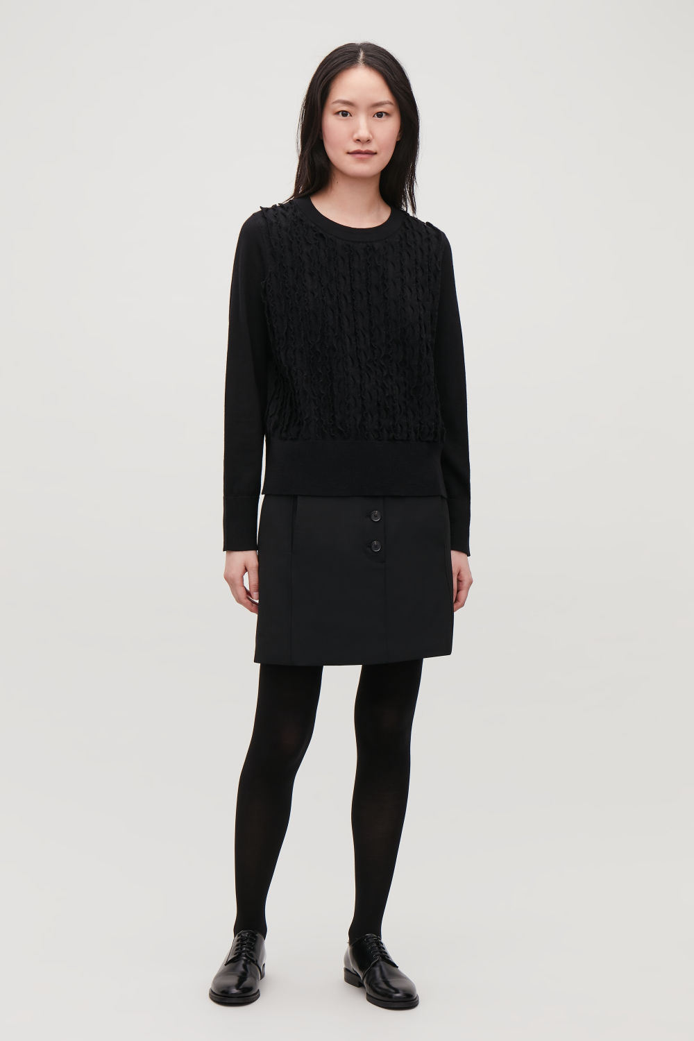 FRILL WOOL-KNIT JUMPER