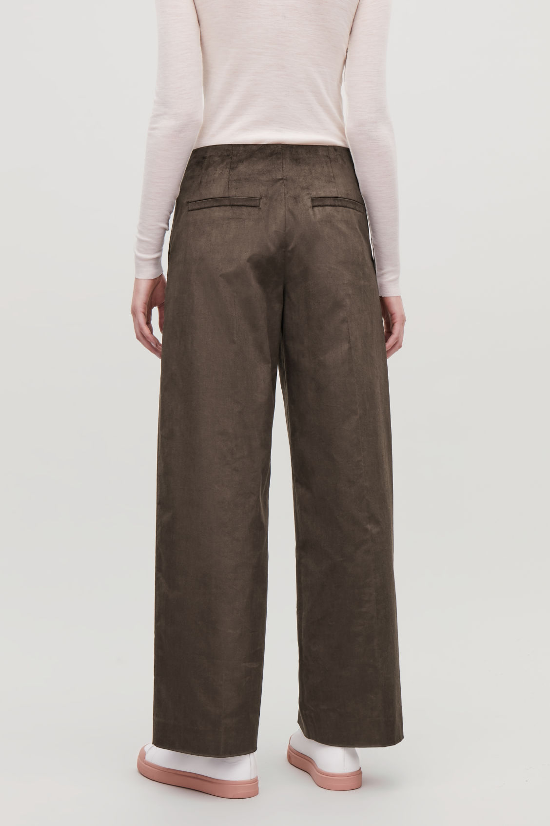Model side image of Cos wide-leg trousers with pleats in brown