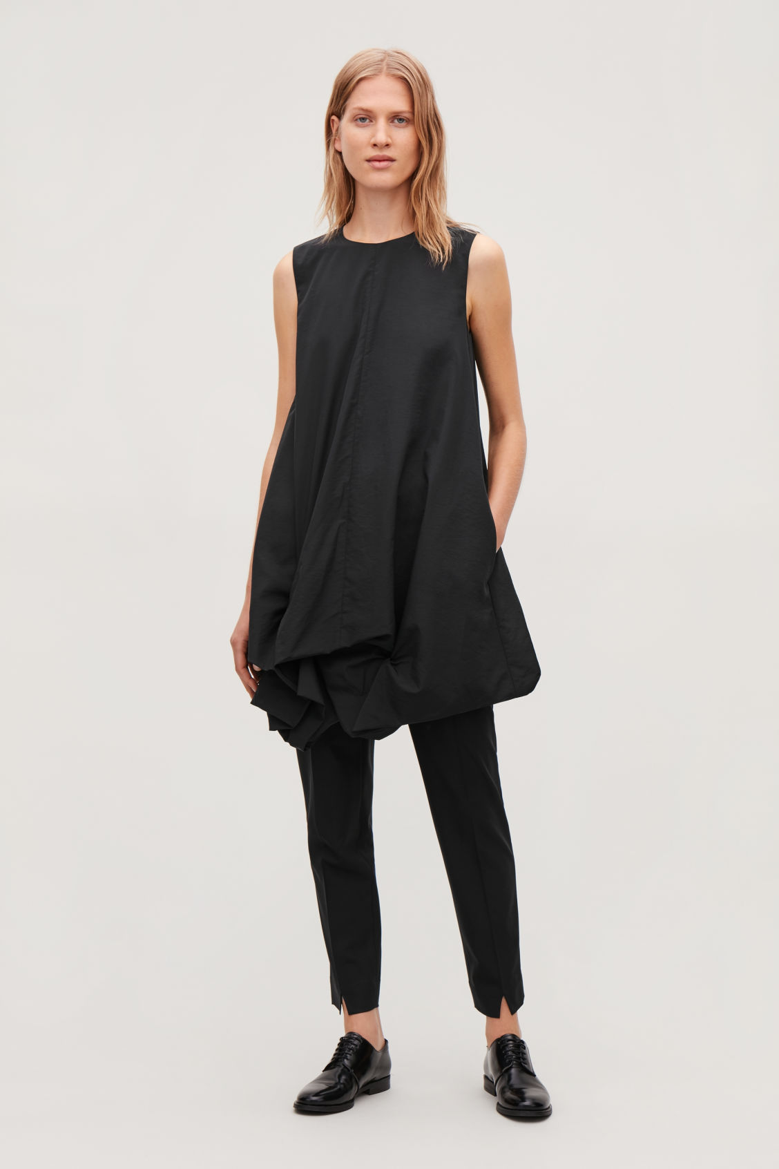 Model front image of Cos gathered-hem sleeveless dress in black