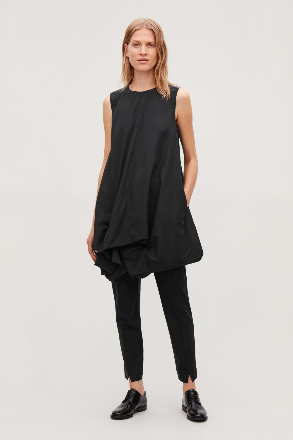 GATHERED-HEM SLEEVELESS DRESS
