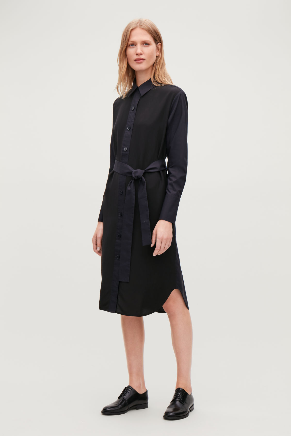 Model side image of Cos silk-cotton mix shirt dress in black