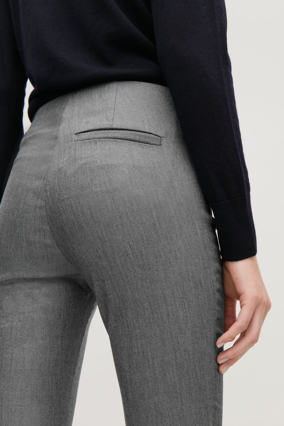 Model side image of Cos skinny-fit legging trousers in grey