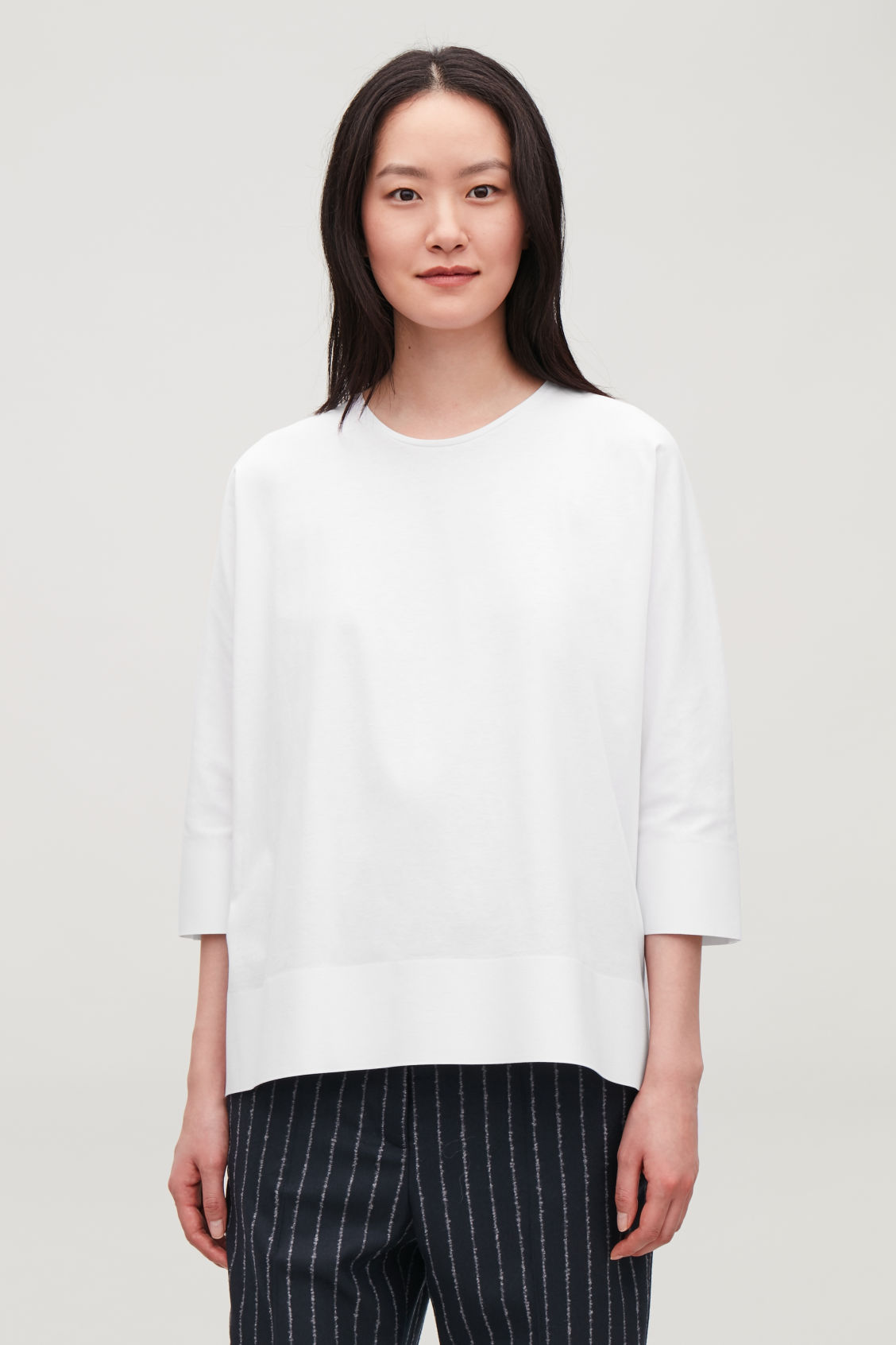 Model side image of Cos bonded cotton top  in white