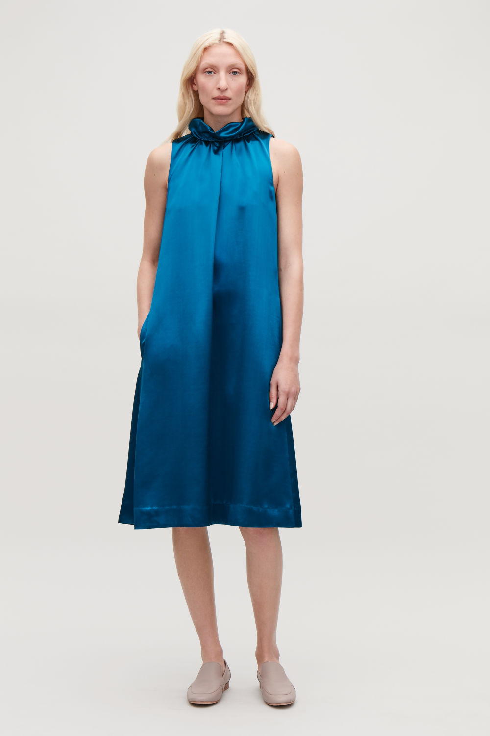 FRILL-NECK A-LINE SATIN DRESS