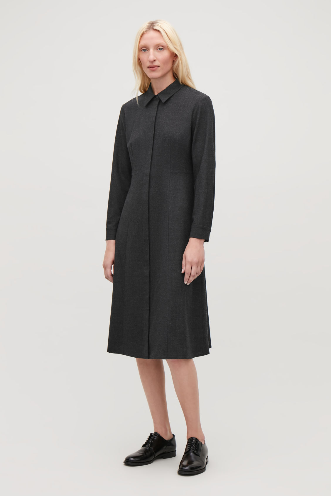 Model front image of Cos mid-length wool shirt dress in grey