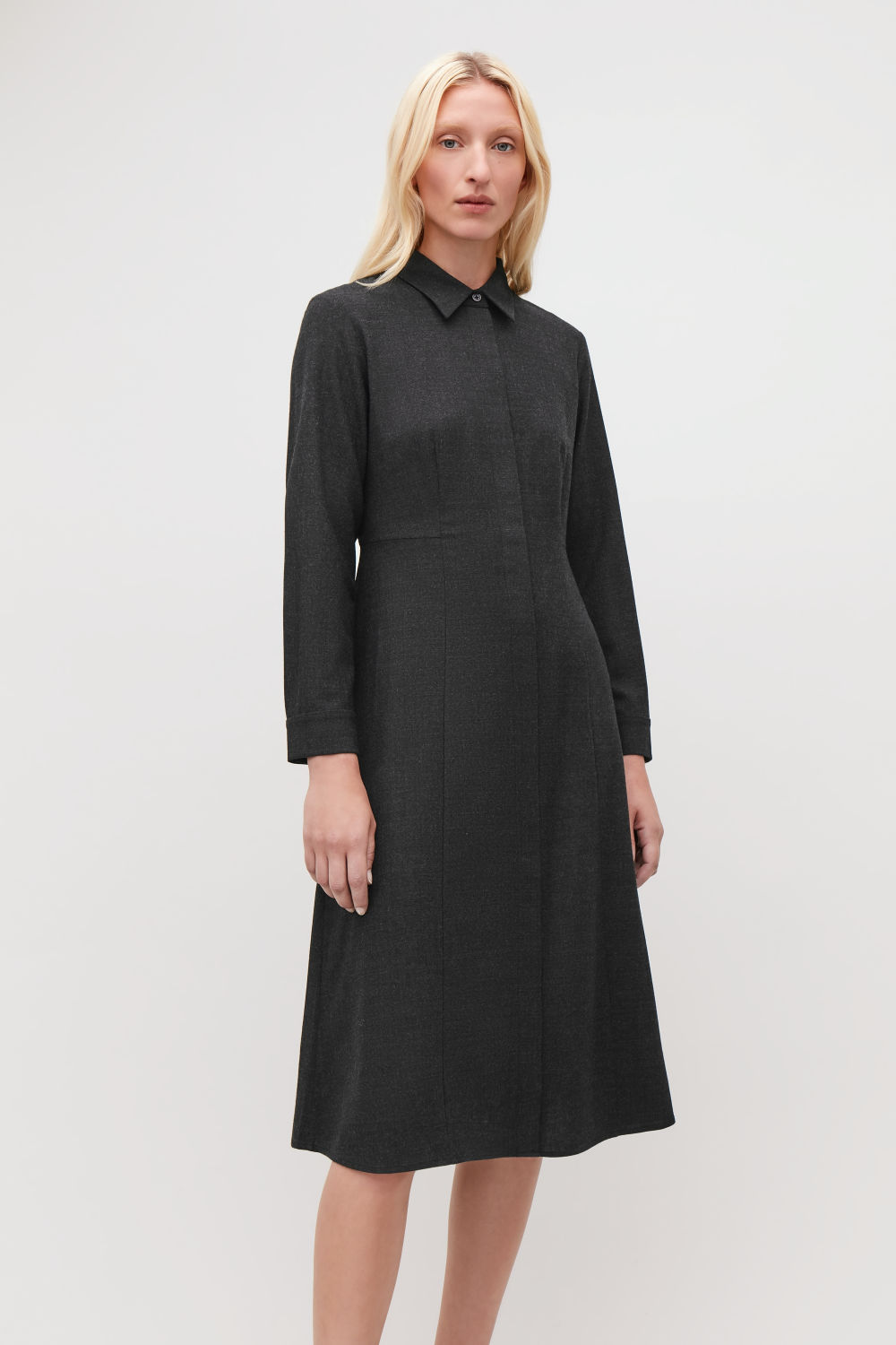 MID-LENGTH WOOL SHIRT DRESS