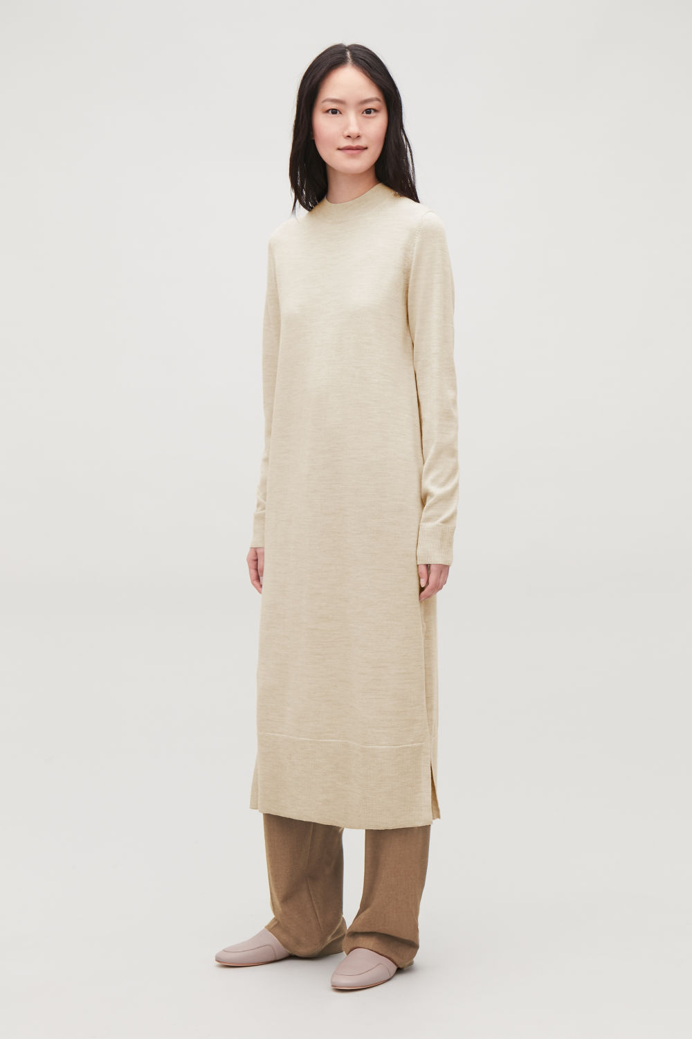 LONG WOOL-KNIT DRESS
