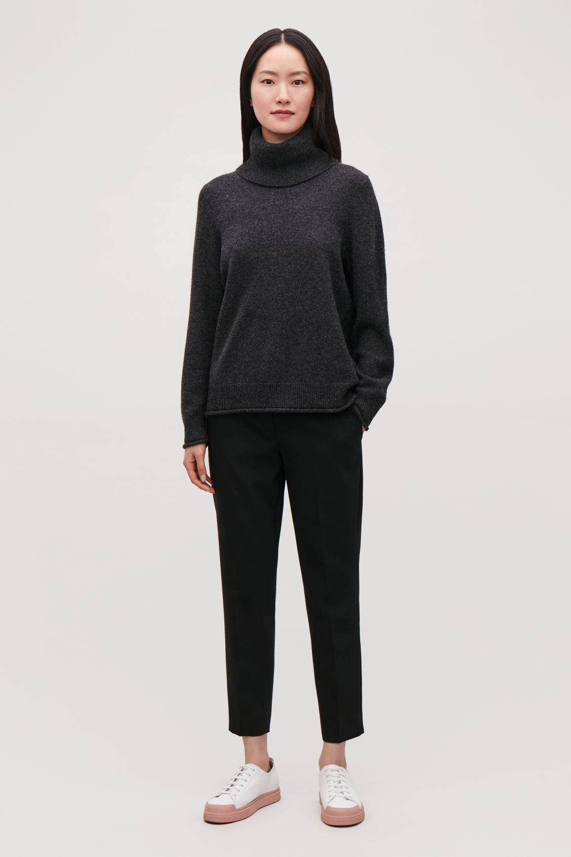 Model front image of Cos cashmere roll-neck jumper in grey