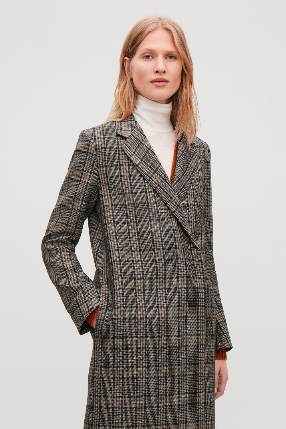 CHECK DOUBLE-BREASTED WOOL COAT