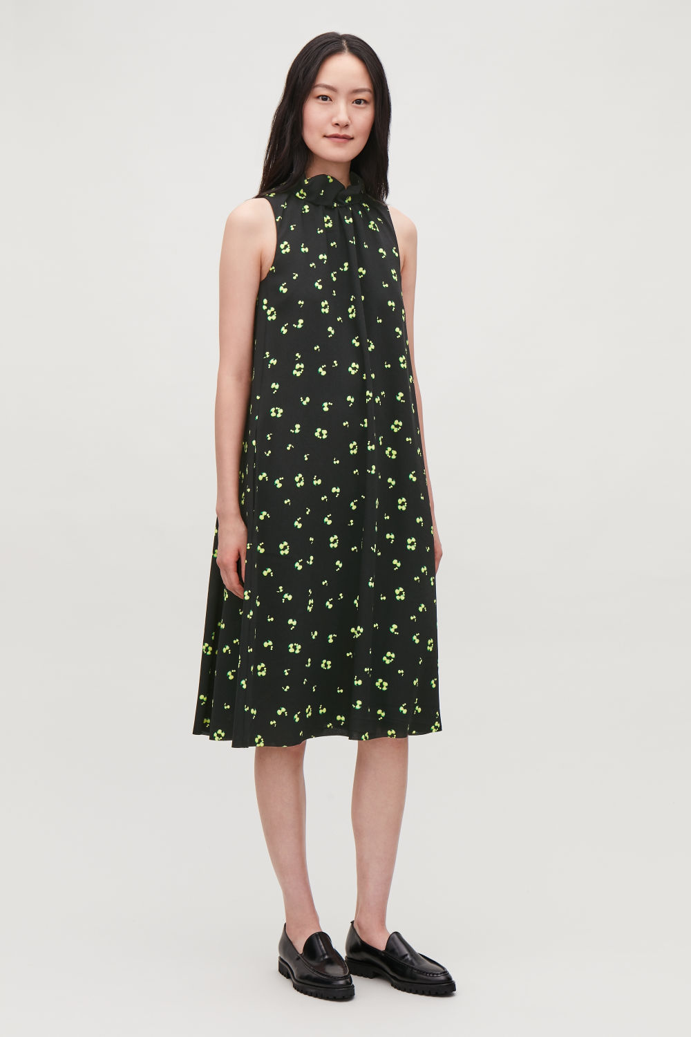 FRILL-NECK A-LINE PRINTED DRESS
