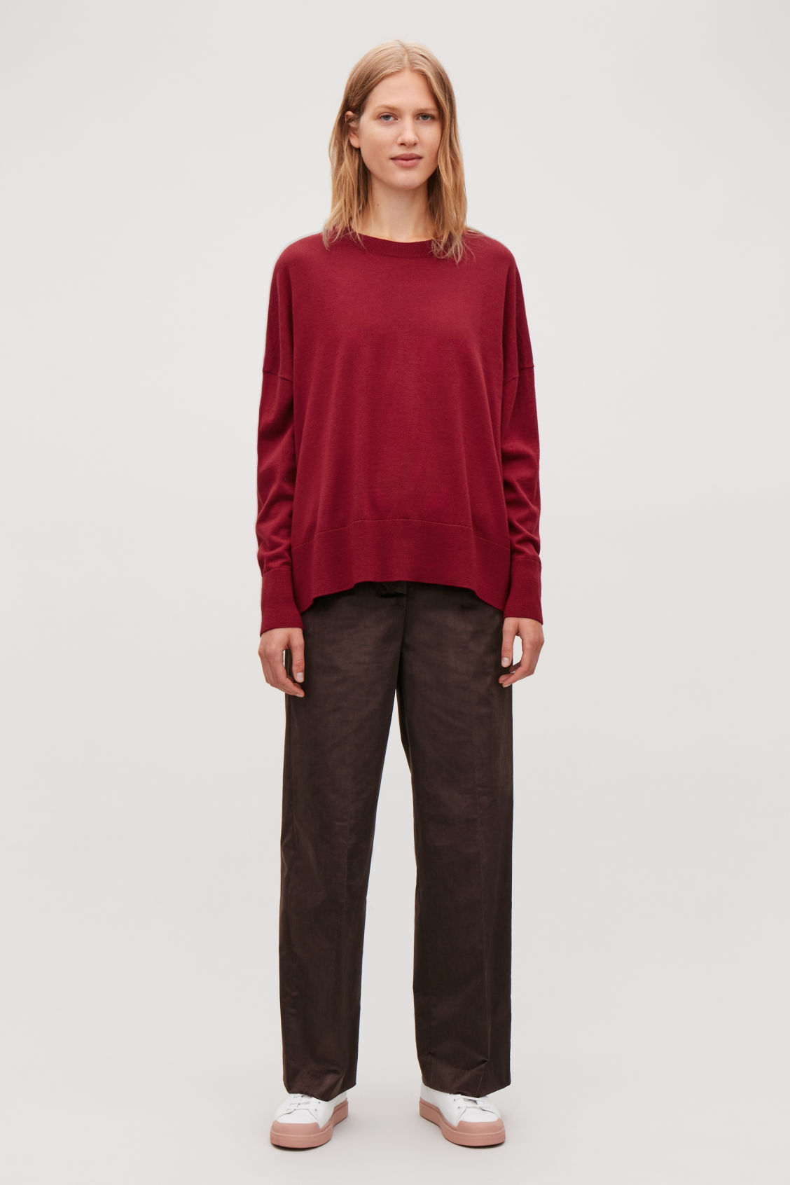 Model front image of Cos draped fine-knit wool jumper in red
