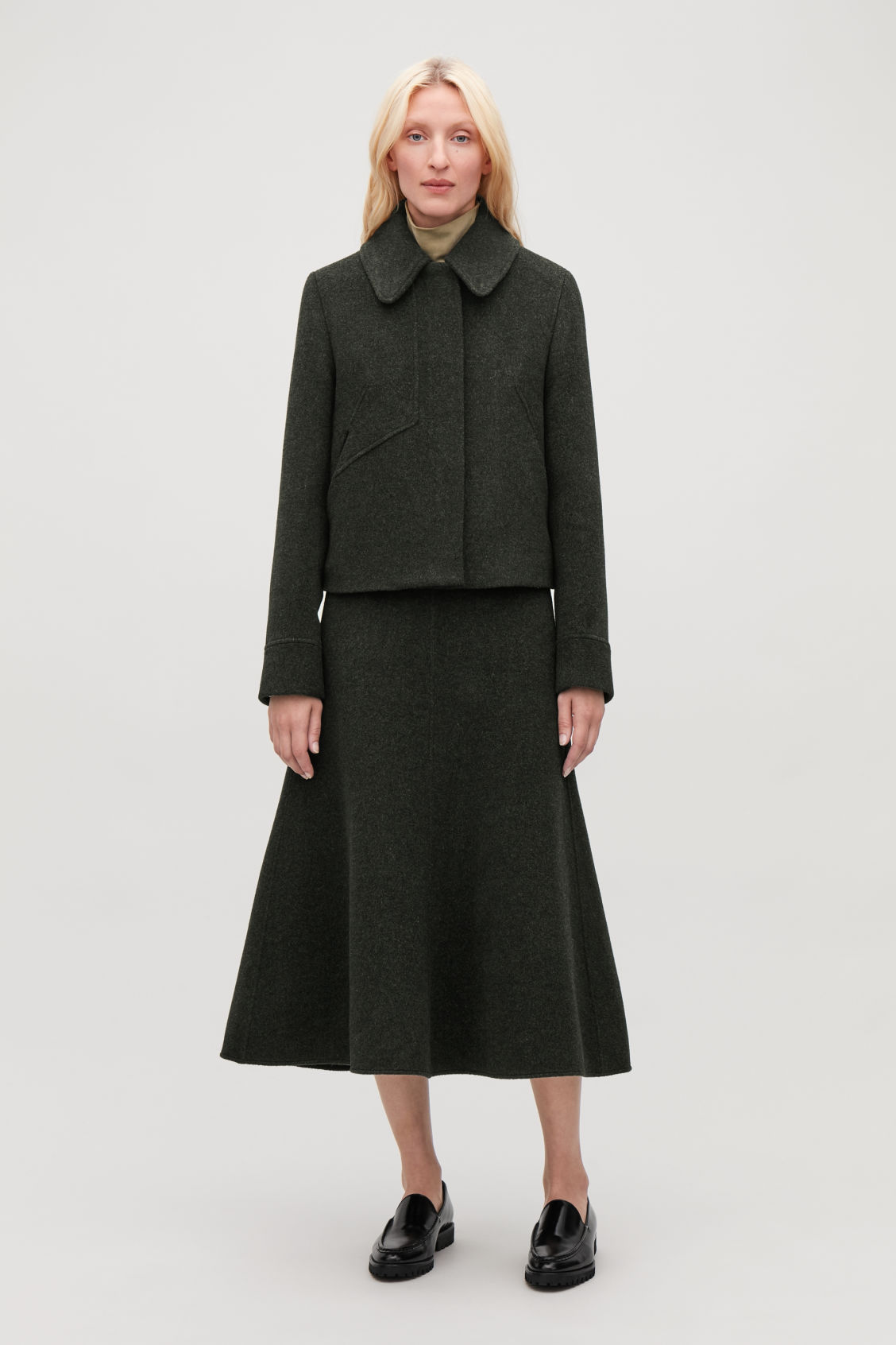 Model front image of Cos wool jacket with large collar in green