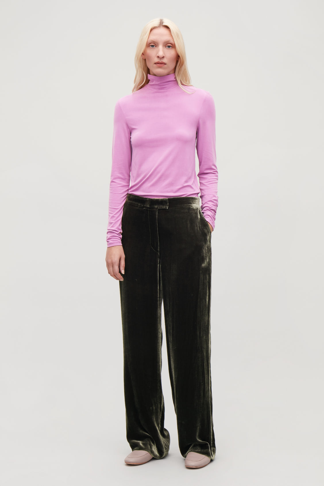 Model front image of Cos slim polo-neck top in purple