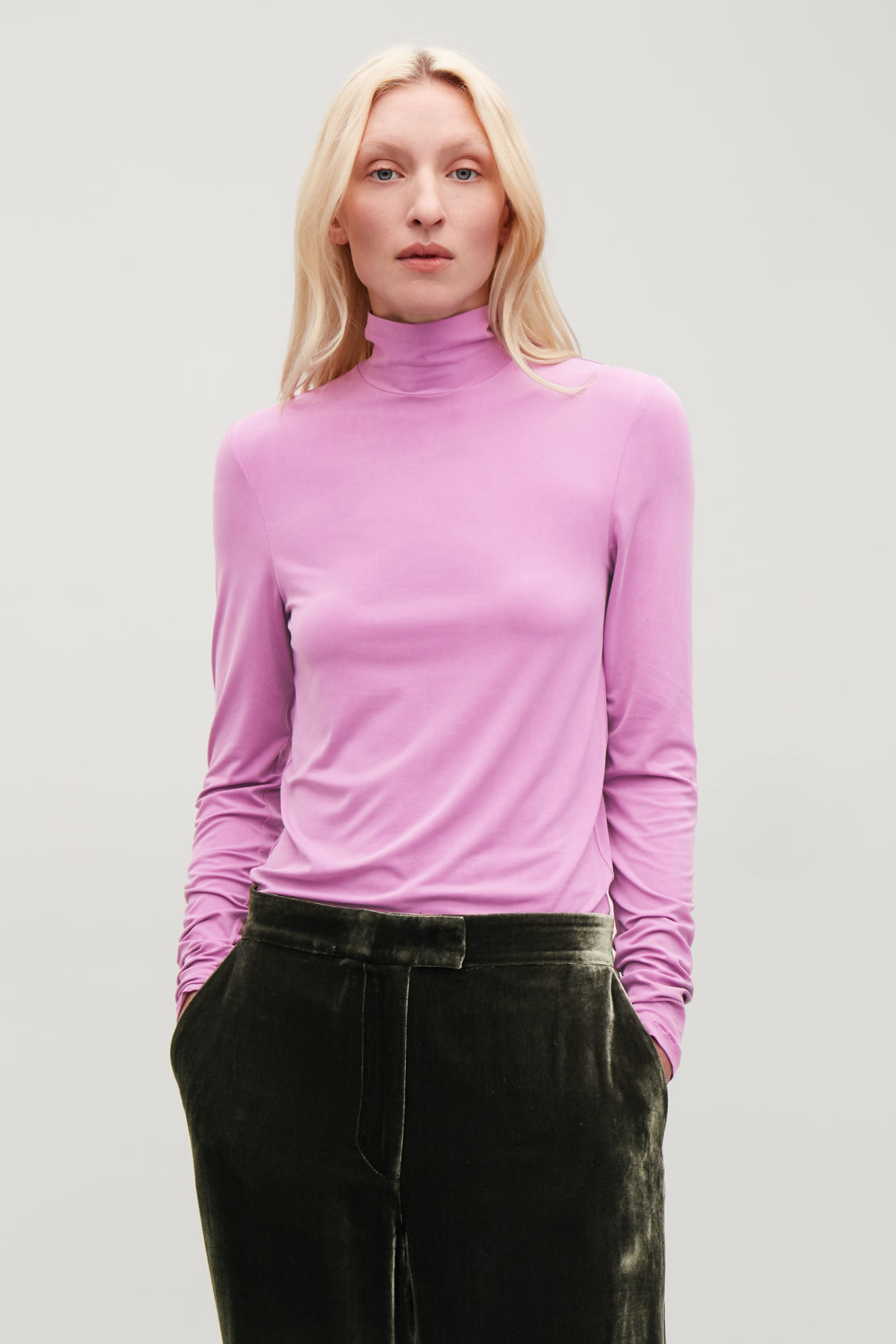 Model side image of Cos slim polo-neck top in purple