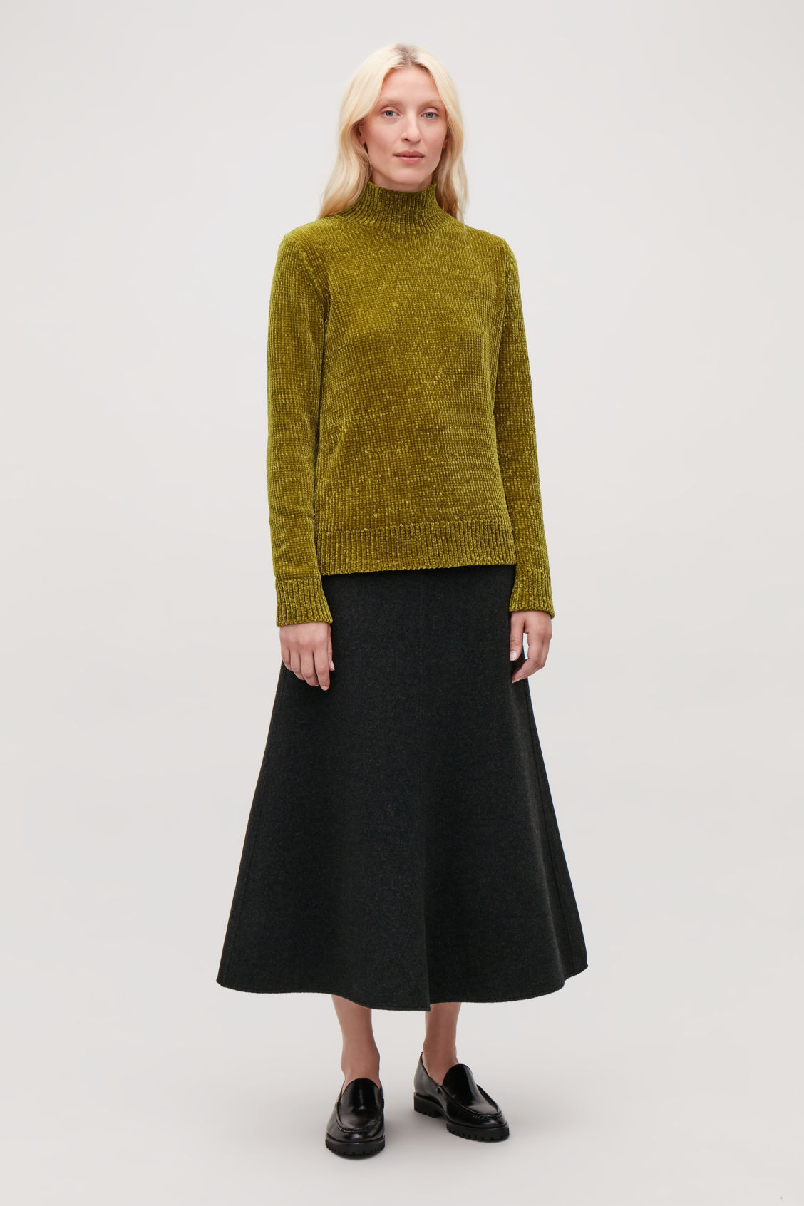 CHENILLE JUMPER WITH ZIP Dark mustard Knitwear COS