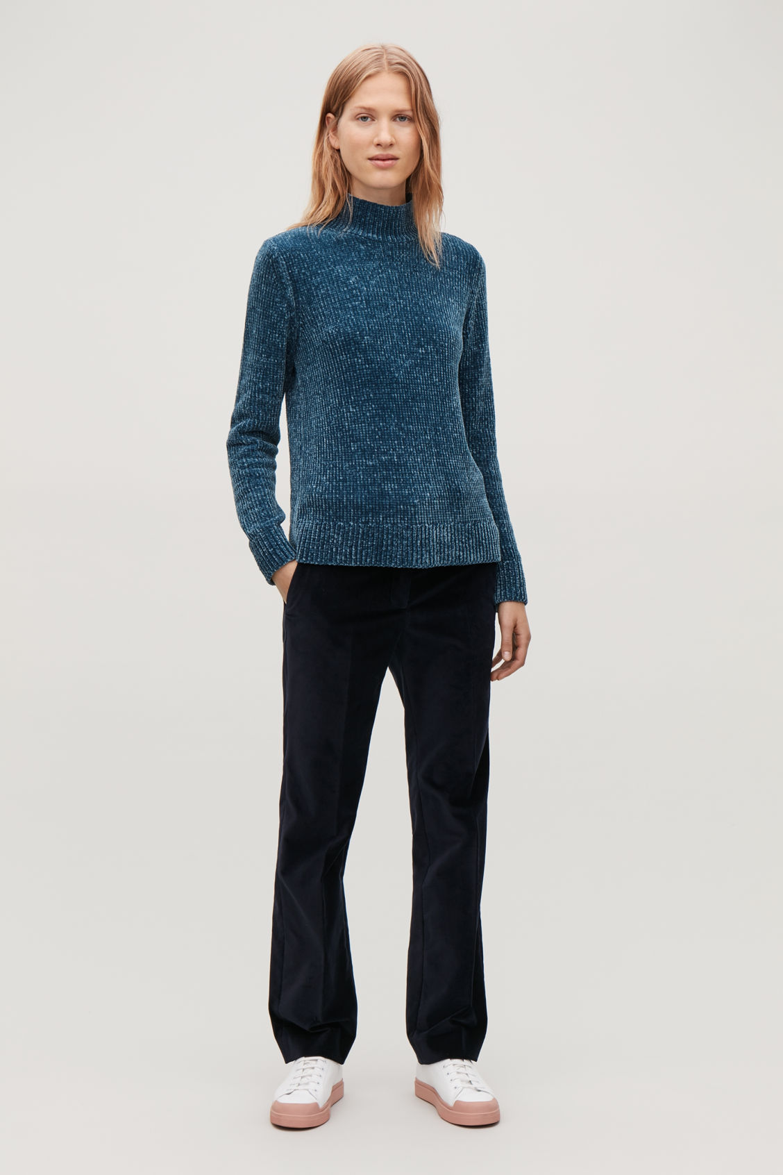 Model front image of Cos chenille jumper with zip in blue