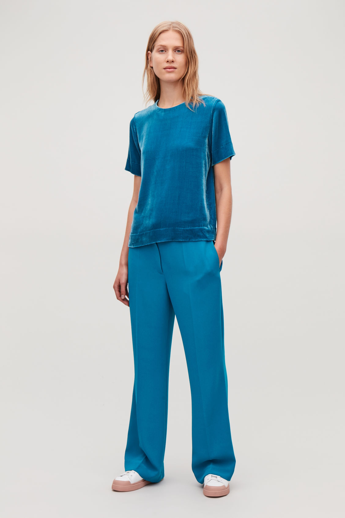 Model front image of Cos a-line tailored trousers in turquoise