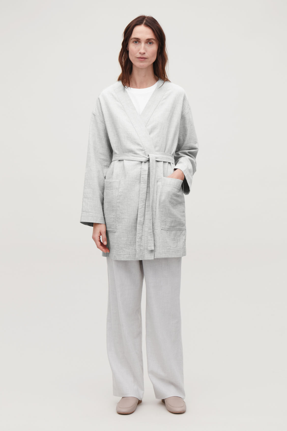 Model front image of Cos belted gown top in grey