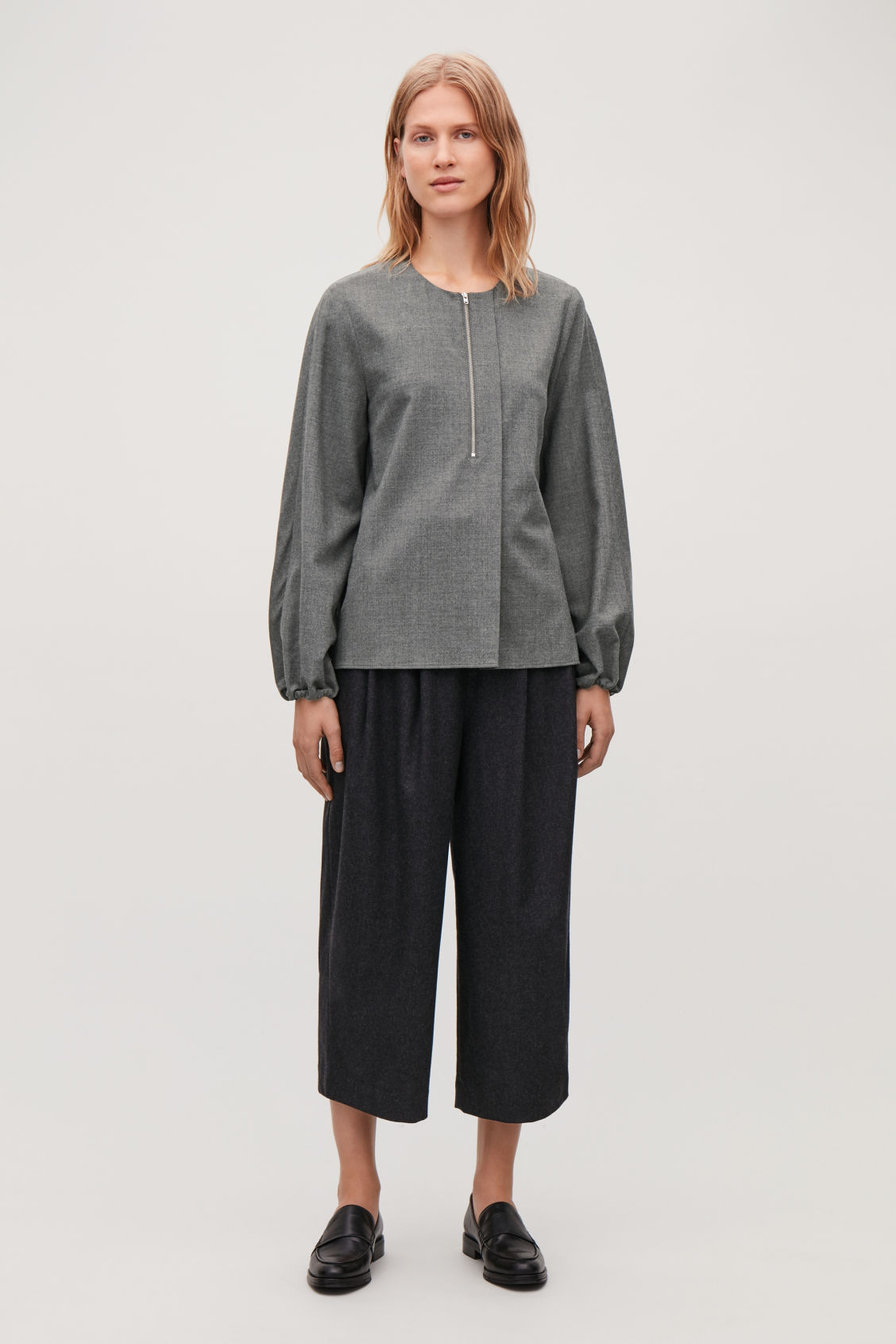 Model front image of Cos zip-front wool blouse  in grey