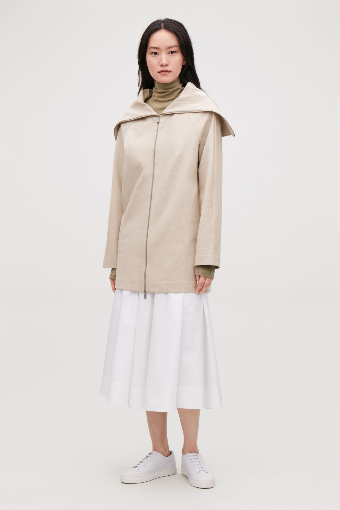 Model front image of Cos zip-up jacket with large collar in beige