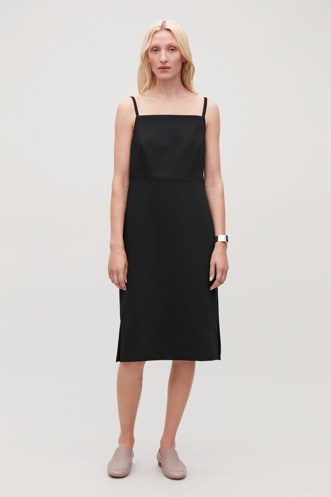 Model front image of Cos wool-blend  slip dress in black