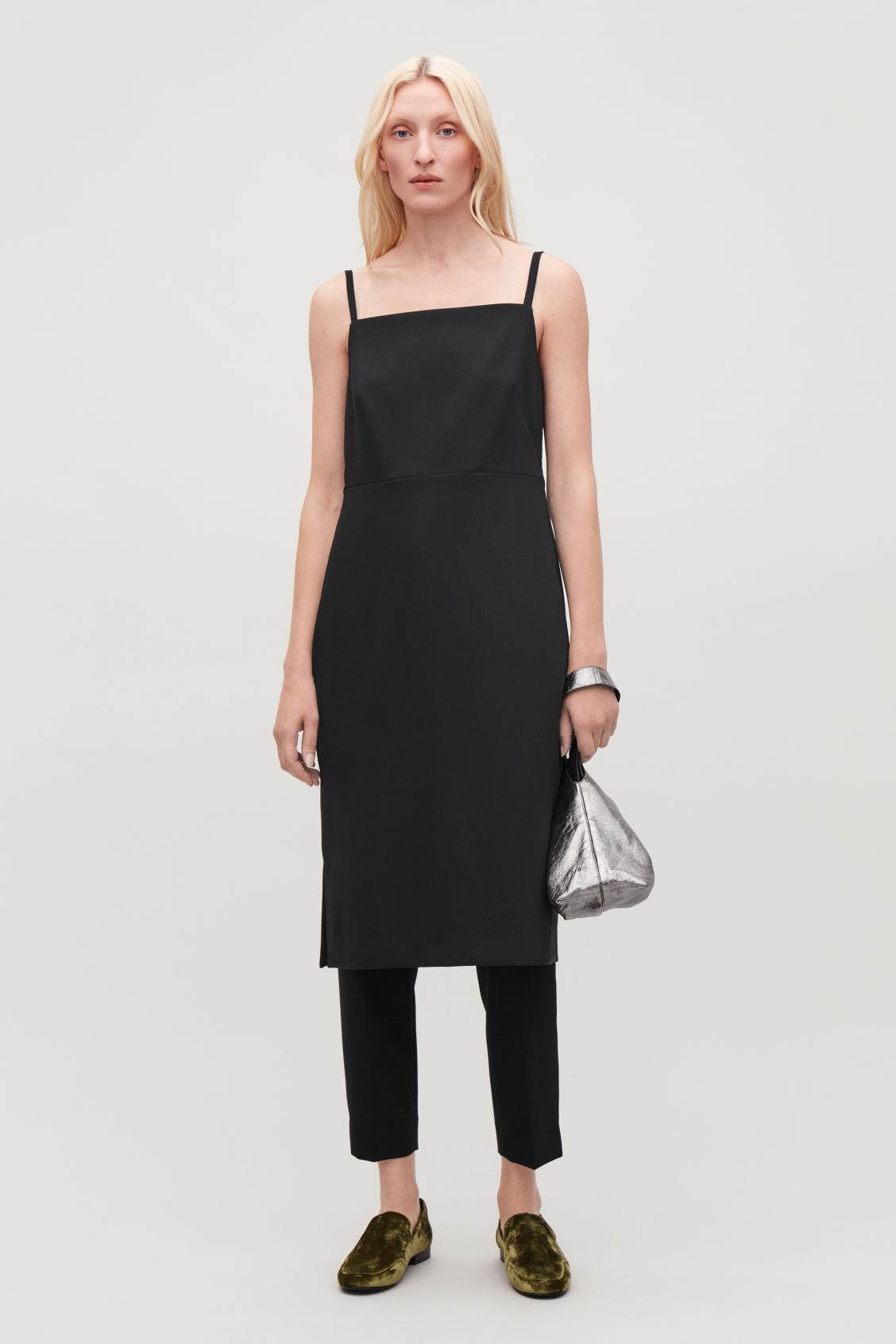Model side image of Cos wool-blend  slip dress in black