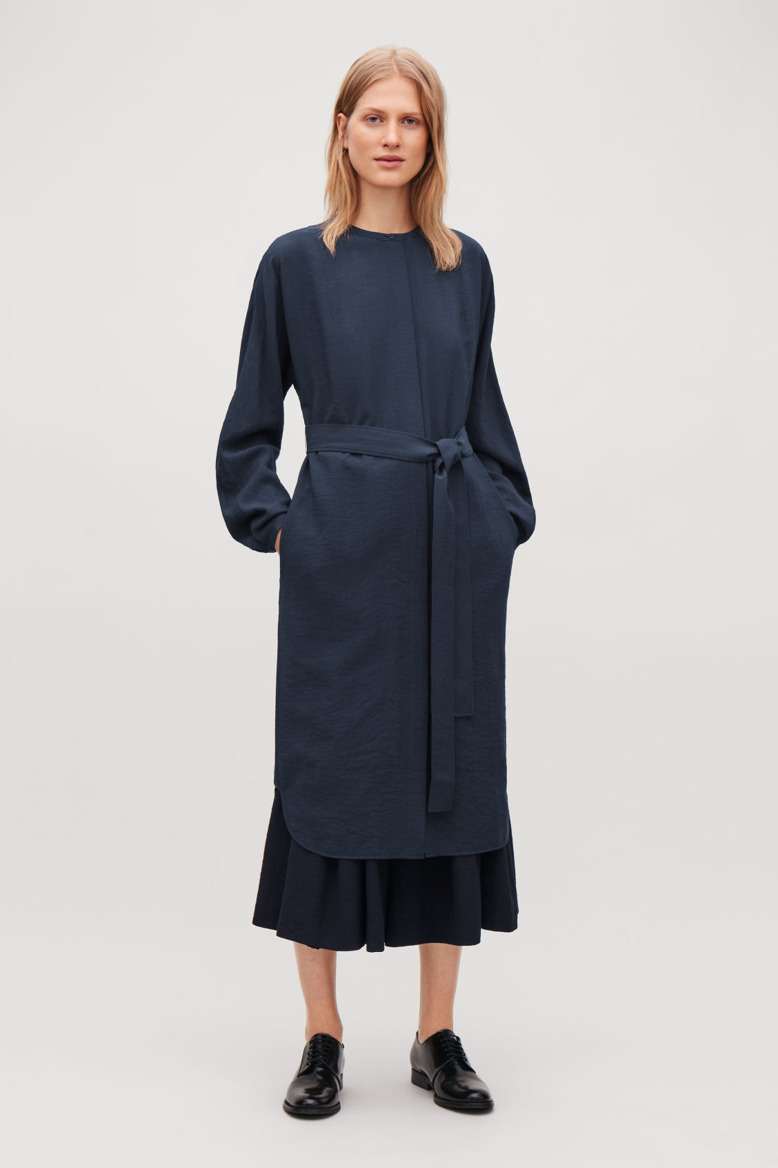 Model front image of Cos belted shirt dress in blue