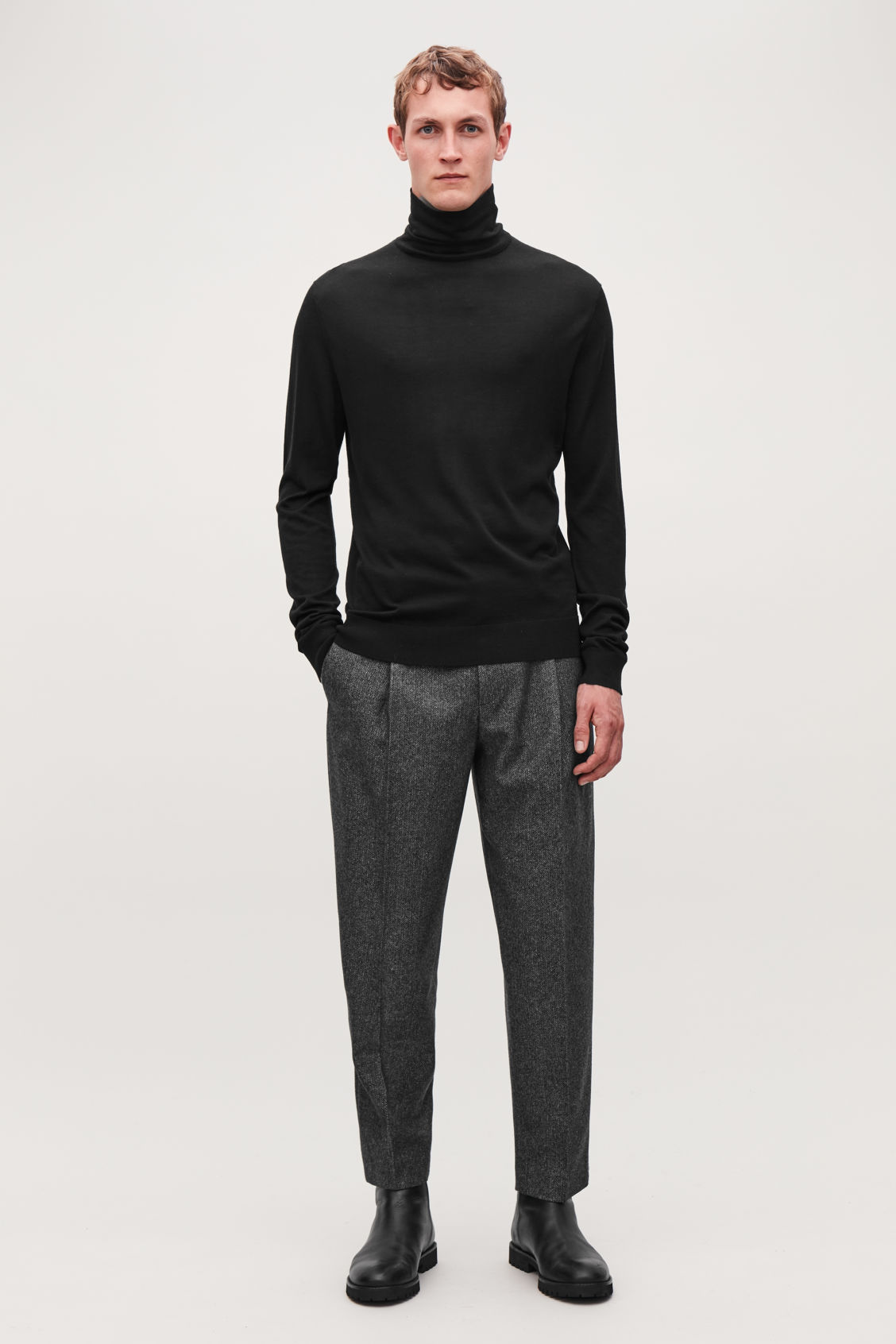Model front image of Cos silk-merino roll-neck jumper in brown