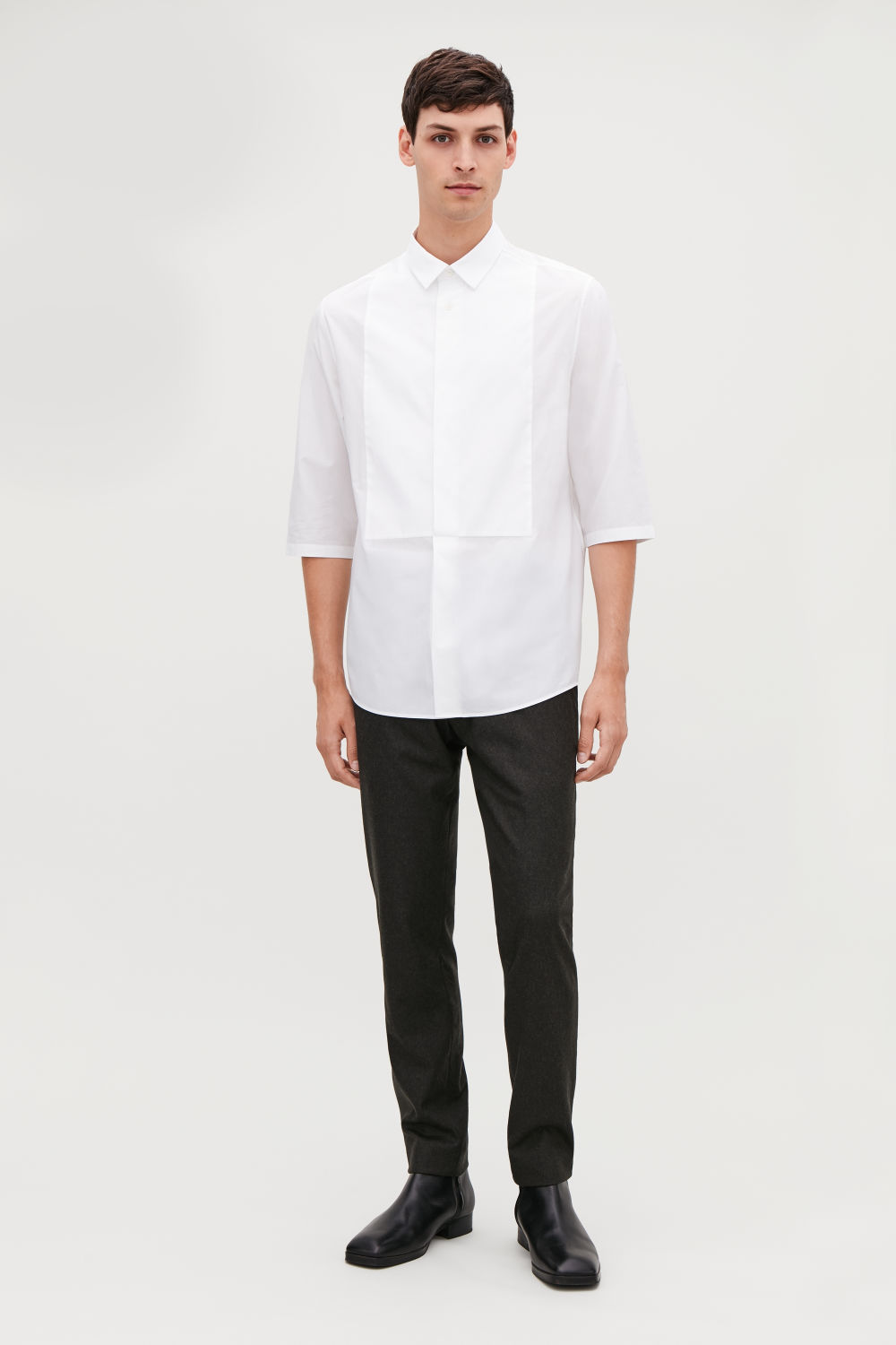 ¾-SLEEVED COTTON SHIRT
