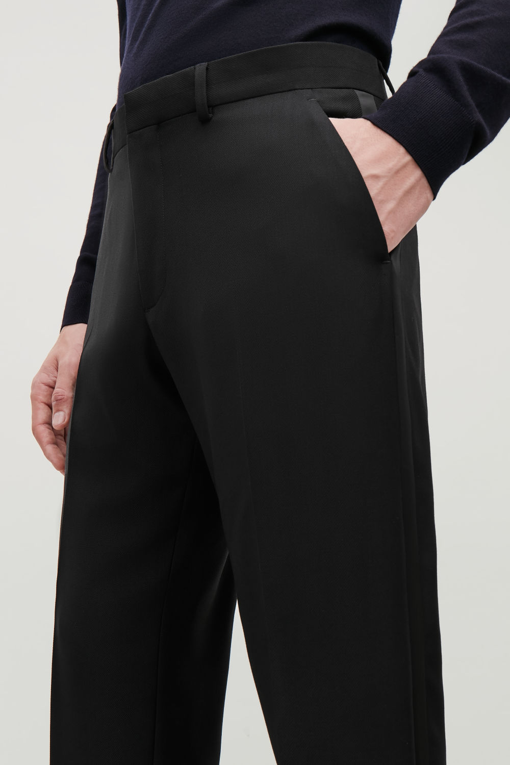 SATIN-DETAIL TROUSERS