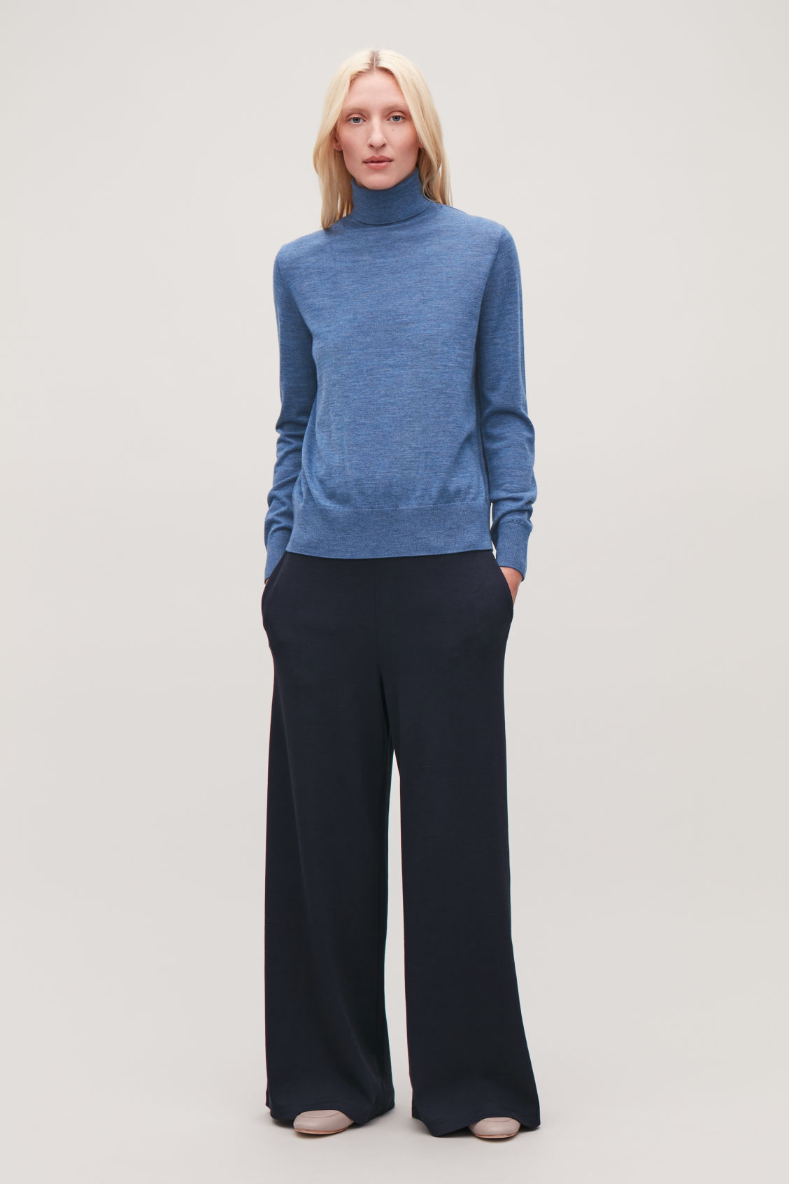 Model front image of Cos wide ribbed-jersey trousers in blue