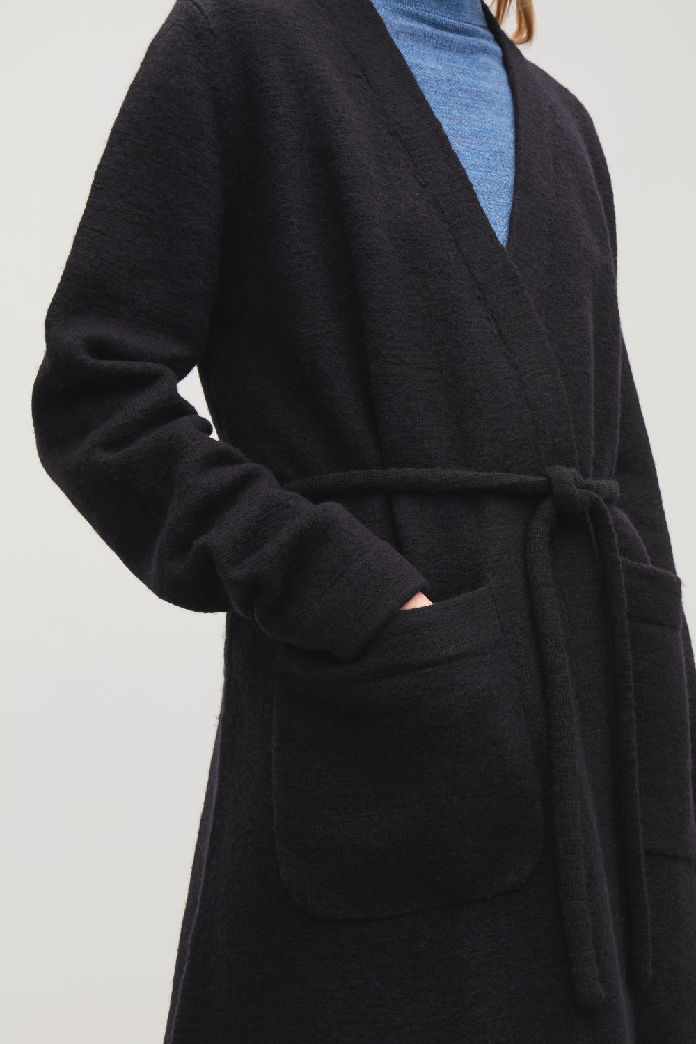LONG BOILED-WOOL CARDIGAN