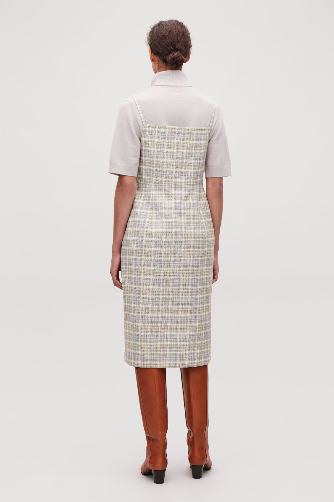 Model side image of Cos checked mid-length slip dress  in white