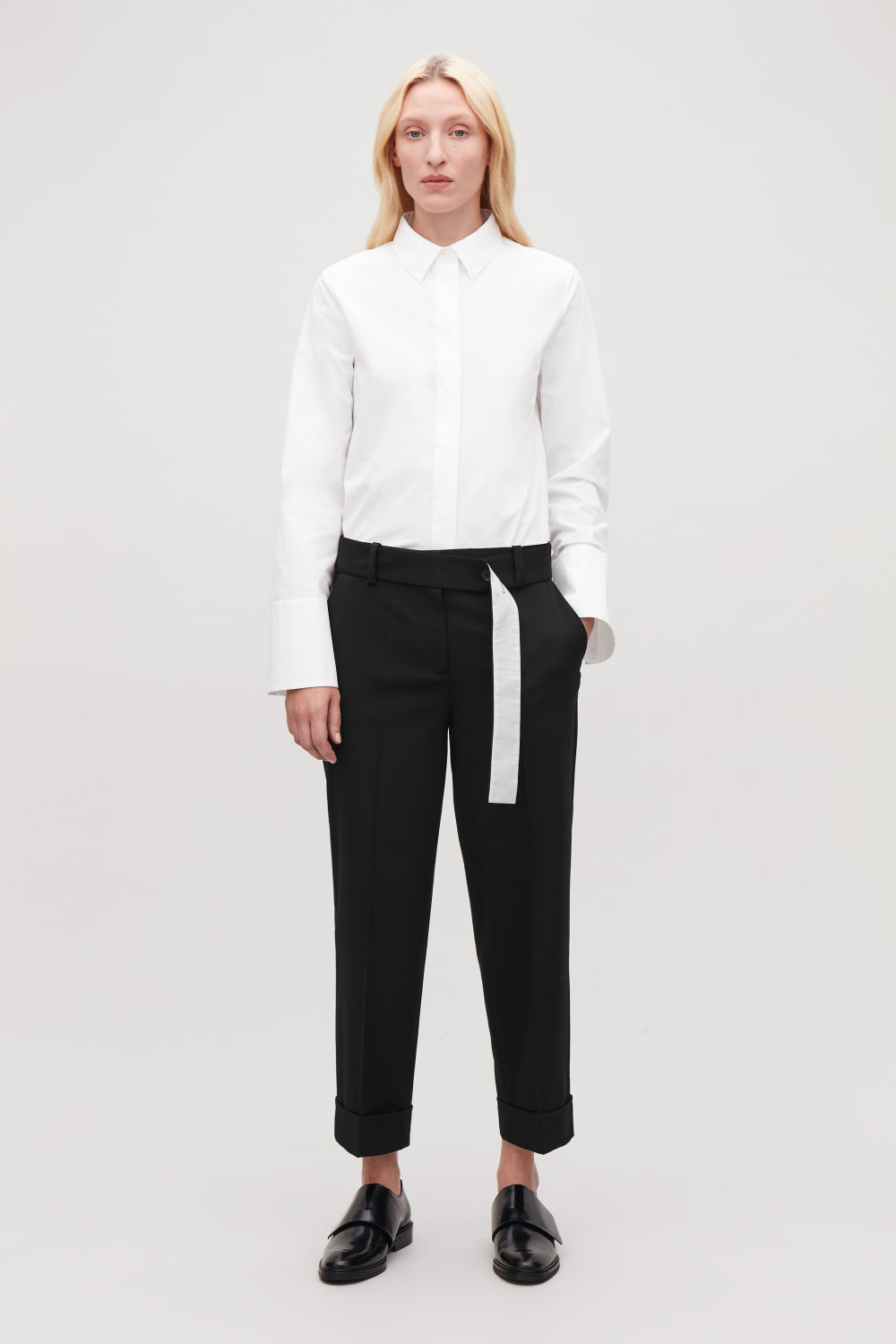 BELTED TURN-UP WOOL TROUSERS