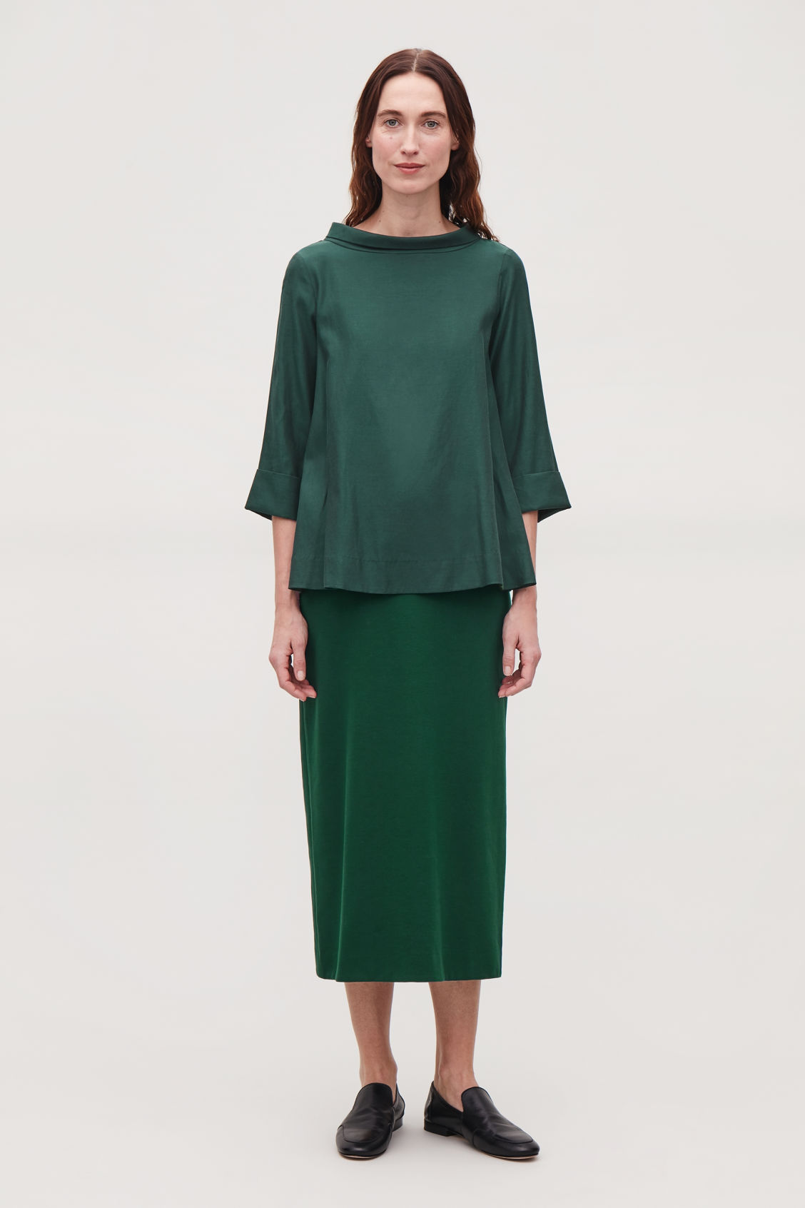 Model front image of Cos folded-collar draped blouse in green