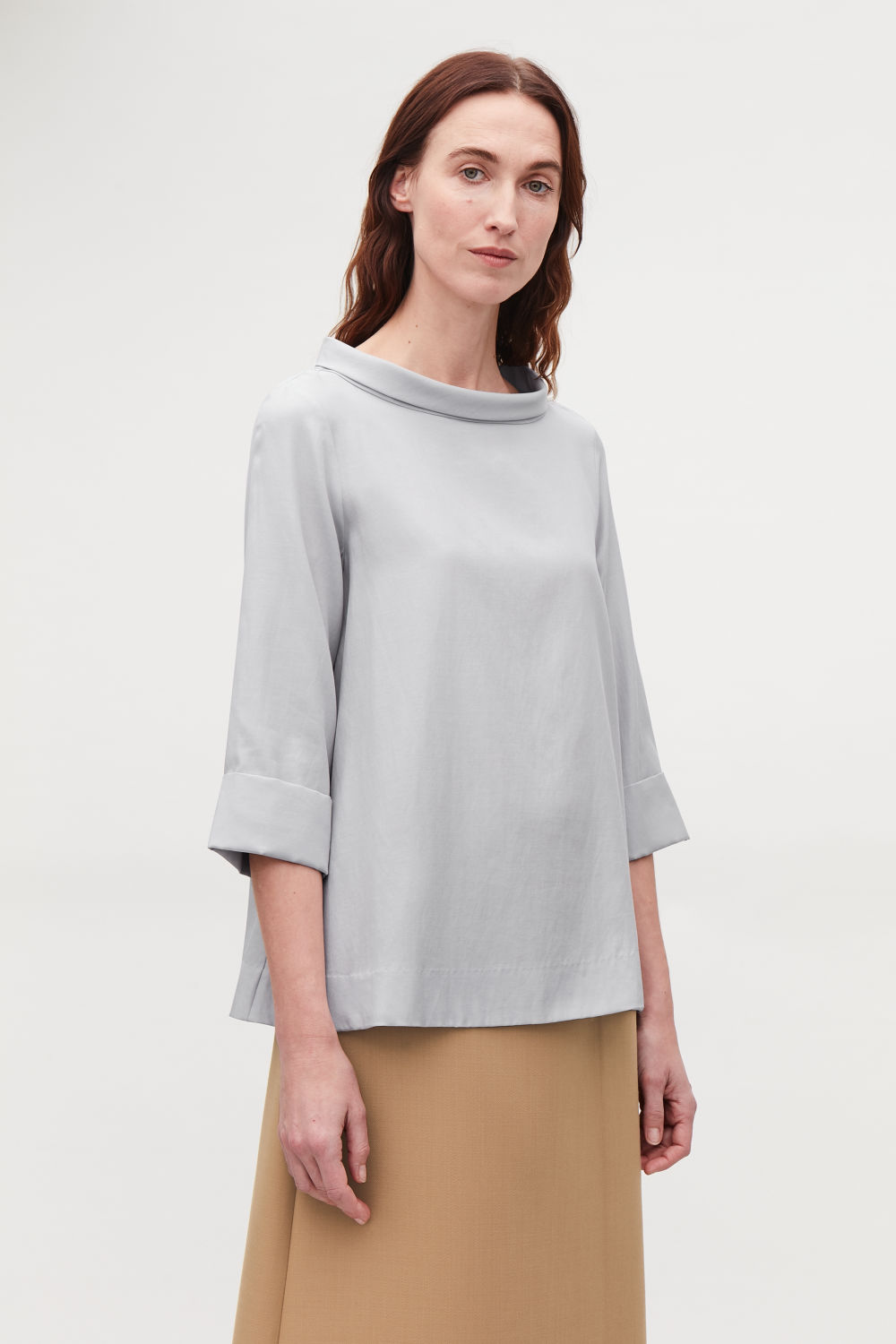 FOLDED-COLLAR DRAPED BLOUSE