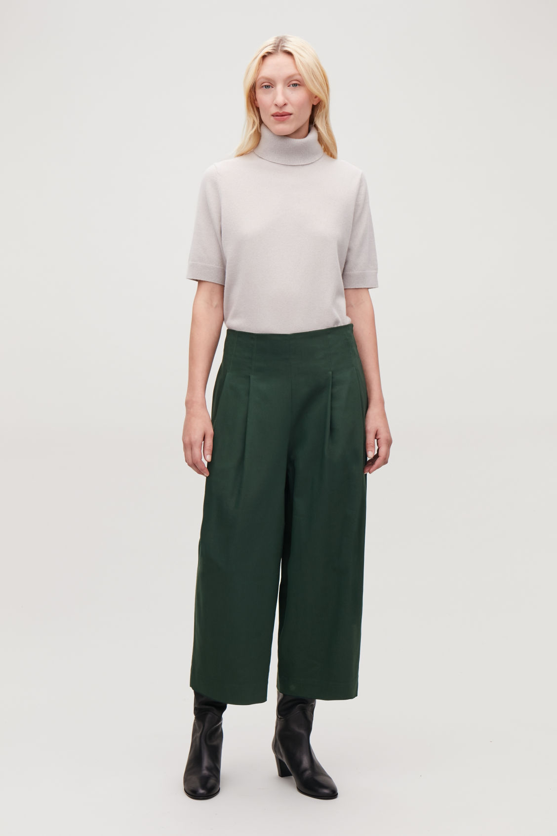 Model front image of Cos crop cotton pleated trousers in green