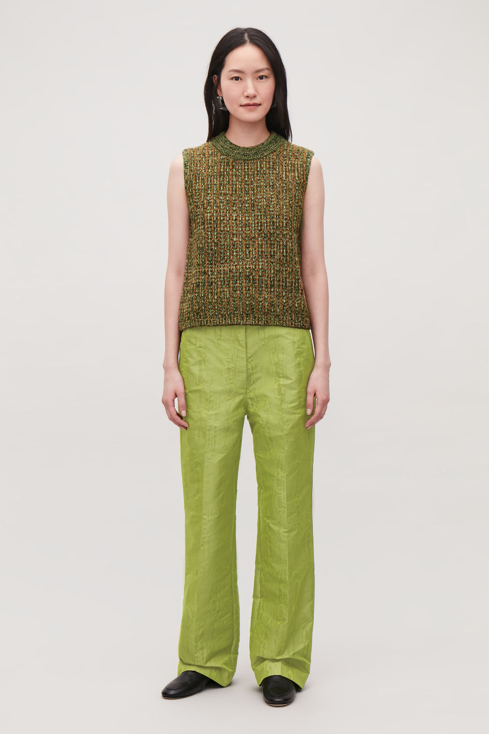 MOIRE-PATTERN  WOVEN TROUSERS